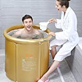 Sunhai& Thickened Folding Bath Tub Adult Bath Inflatable Bathtub Warm Plastic Children Large ( Color : Gold , Size : 7580cm )