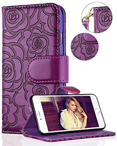 Samsung S9 Plus Case,Galaxy S9 Plus Wallet Case,FLYEE Premium PU Flip Wallet Leather [kickstand] [Emboss Flower] Magnetic Protective Cover with Card Slots for Samsung Galaxy S9 Plus 6.2 inch Purple