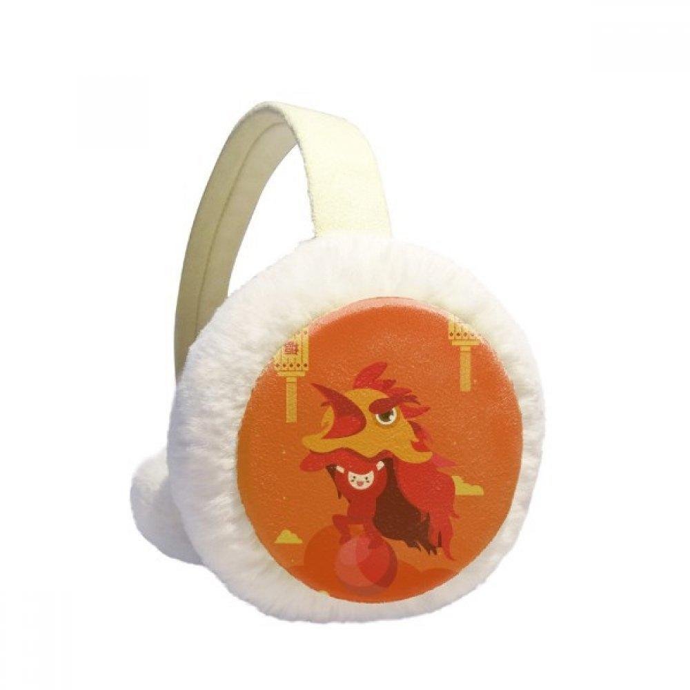 Red Lantern Lion Dance China Town Winter Earmuffs Ear Warmers Faux Fur Foldable Plush Outdoor Gift
