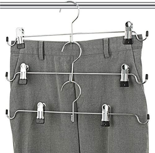 HangerSpace Skirt Hangers, Pants Hangers with Clips Metal Trouser Hangers Space Saving Heavy Duty Non-Slip for Pants Skirts Clothes 12-Pack