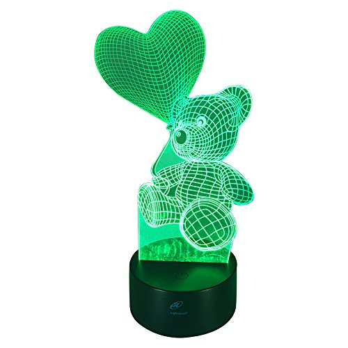Lightahead Amazing 3D Optical Illusion Touch Night Light LED Desk Lamp Art Piece with 7 changing Colors, USB Powered for Decoration & Gifts (Love Bear 2)
