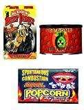 Beef Jerky Hot Peppered 4 oz, Ghost Pepper Nuts, Ghost Pepper Spicy Popcorn Microwave, MiDAStick Real Spicy Mix Challenge Chili Lunch Pack Snack Set