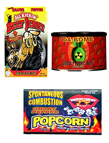 Carolina Reaper, Beef Jerky Peppered 4 oz, Ghost Pepper Nuts, Ghost Pepper Spicy Popcorn Microwave, MiDAStick One Real Spicy Mix Challenge Chili Lunch Pack Hot Snack Set by MiDAStick Spicy Mix