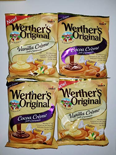 - Werther's Original Candy Bundle with 2 Vanilla Creme and 2 Cocoa Creme Soft Caramels, 4.51 oz Each