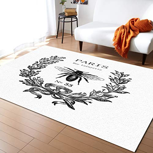 Family Decor Area Rug Pads, Paris Rue Lafayette Bee Wreath Area Rug Carpet for Living Room Bedroom Playing Room Hardwood Floors 2.5' x 5' ()