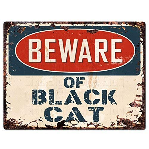Ditooms Beware of Black Cat Chic Sign Rustic Store Shop Bar Home Wall Halloween Decor Gift 8