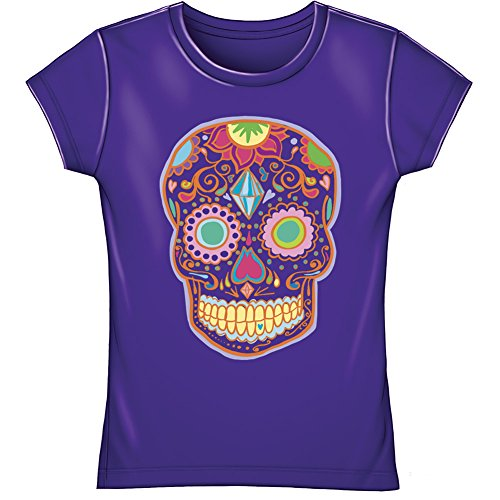 Sugar Skull Youth Fitted Tee Shirt (Kids Extra -