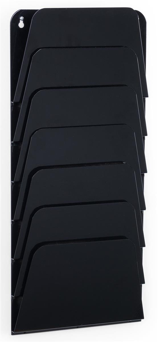 Displays2go Folder Wall Rack, 7 Pockets, Letter/Legal Size, Office Filing Organizer, Set of 2, Black (OPEN07BLK)
