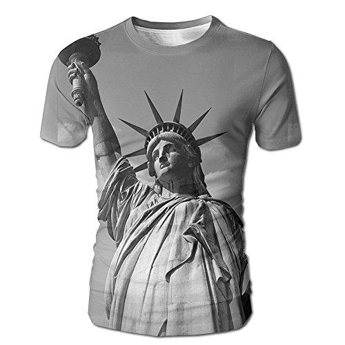 Men New York Statue Of Liberty 3D Graphic T-Shirt Hilarious Tees Medium