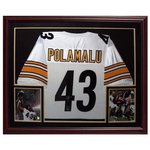 Troy Polamalu Autographed Signed Auto Pittsburgh Steelers White #43 Deluxe Framed Jersey Polamalu Holo - Certified Authentic ()
