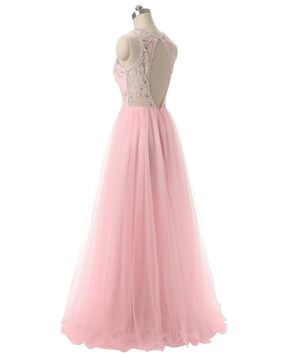 dfdb5c89731c Callmelady Tulle Perline Abito Cerimonia Lungo Abiti da Sera Donna Formale   Amazon.it  Abbigliamento