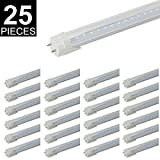(US STOCK) 4FT T8 LED Light Tube, CNSUNWAY Lighting 22W (45W Fluorescent Replacement), 6000K (Super Bright White), Single Row 2 Pin G13 Bulbs (25-Pack)