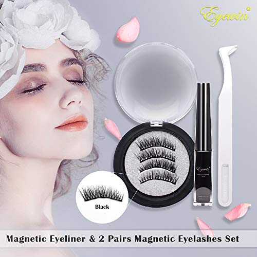 New Magnetic Eyeliner & 2 Pairs Magnetic Eyelashes Set, 4ml Waterproof Liquid Eyeliner 5 Magnet Black Reusable Full Eye False Lashes with Eyelash Tweezers For Makeup Cosmetics