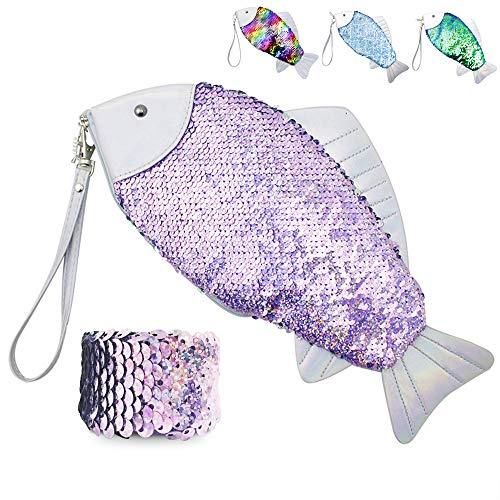 GreenLiiver Glitter Makeup Bag Sequin Glitter Flip Sequin Pencil Case Reversible Mermaid Sequin Cosmetic Bag Coin Sequin Handbags Glitter Color Changing Sparkle Purse Bling Evening Bag Clutch Wallet