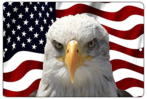 Rogue River Tactical USA American Mad Eagle Flag Metal Tin Sign Wall Decor Man Cave Bar US United States