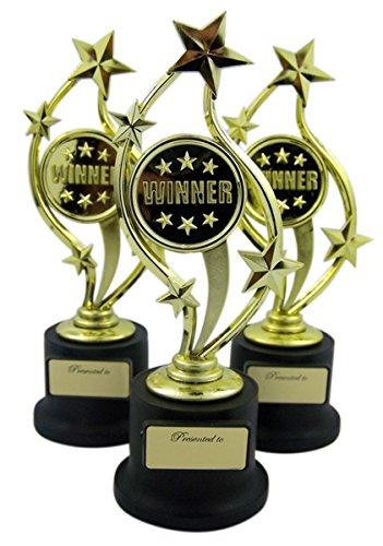 Pack of 3 Black and Gold Sports Award Trophies for Teachers and Kids, 5 Inch (Winner Trophy)