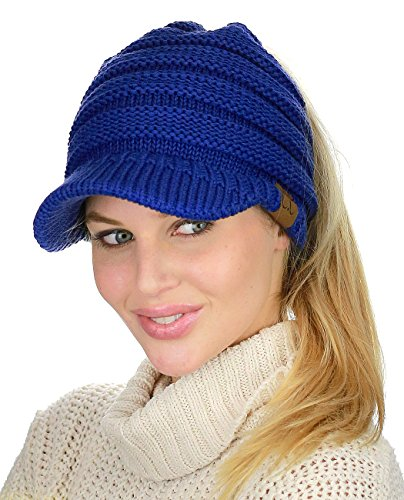 (C.C BeanieTail Warm Knit Messy High Bun Ponytail Visor Beanie Cap, Royal)