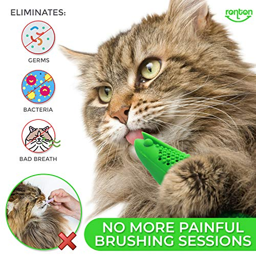 Ronton Cat Toothbrush Catnip Toy - Durable Hard Rubber - Cat Dental Care, Cat Interactive Toothbrush Chew Toy, Refillable Catnip Kitten Teaser Toy with Bell 3