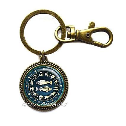Pisces - Llavero con rueda azul del zodiaco, llavero de ...