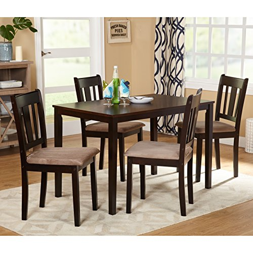 Shaker Modern 5 piece Dining Set Espresso Wood with Tan Microsuede Upholstered Seats - Includes Modhaus Living Pen