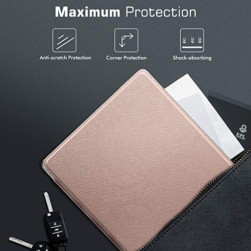 MoKo Case Fits All-New Kindle Oasis (9th and 10th Generation ONLY, 2017 and 2019 Release), Slim Lightweight Cover with Translucent Frosted Back Protector - Rose Gold