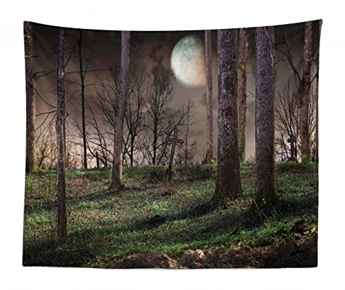 Lunarable Gothic Tapestry King Size, Dark Night in the Forest Full Moon Horror Theme Grunge Style Halloween, Wall Hanging Bedspread Bed Cover Wall Decor, 104 W X 88 L Inches, -