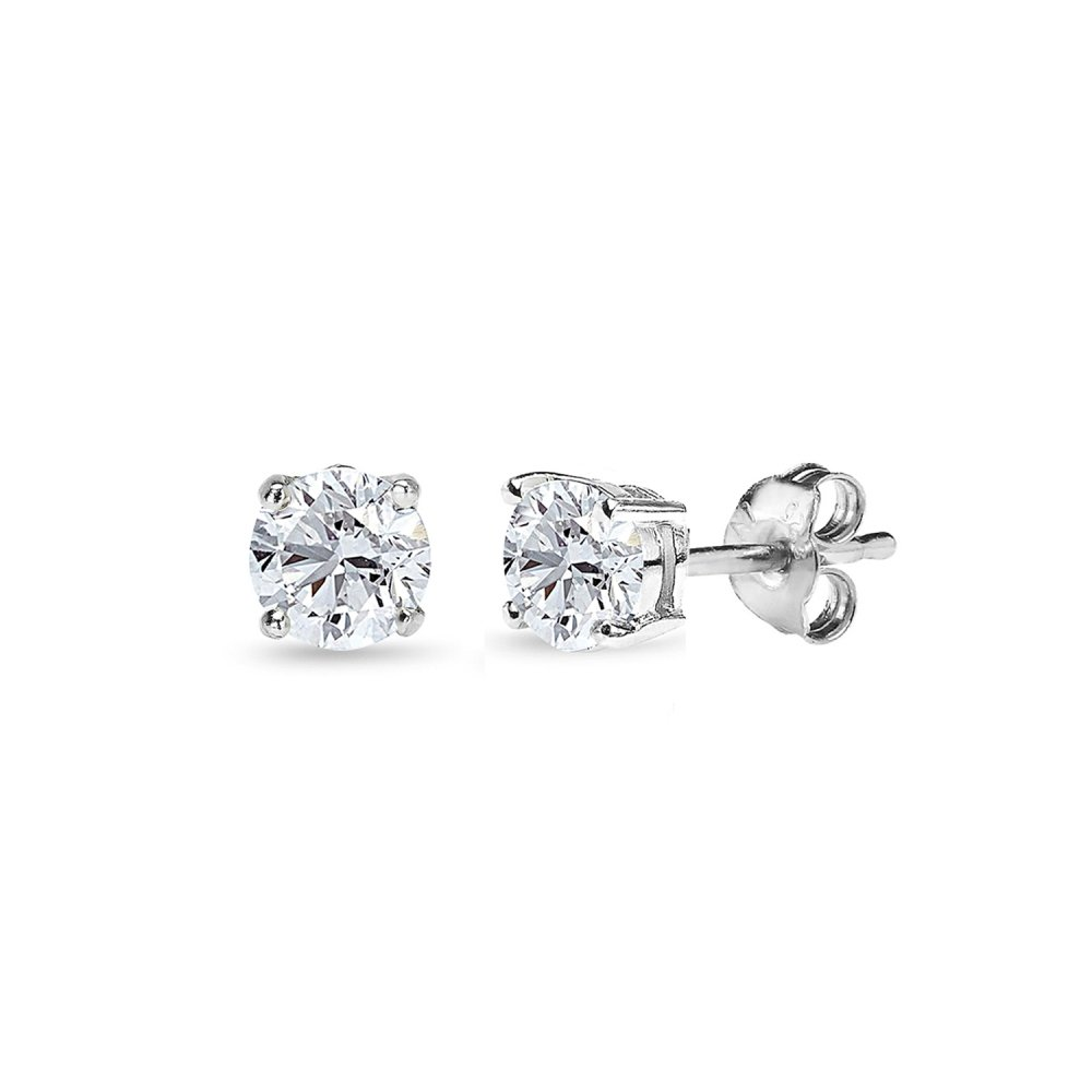 14K Gold Post & Sterling Silver Cubic Zirconia 7mm Round-Cut Solitaire Stud Earrings