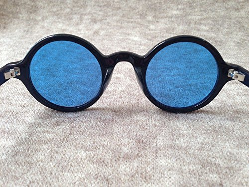VIPASNAM-Retro Vintage Johnny Depp Fashion Eyeglasses Round BLACK Frame Blue - Oakley Lenses Radar Xl