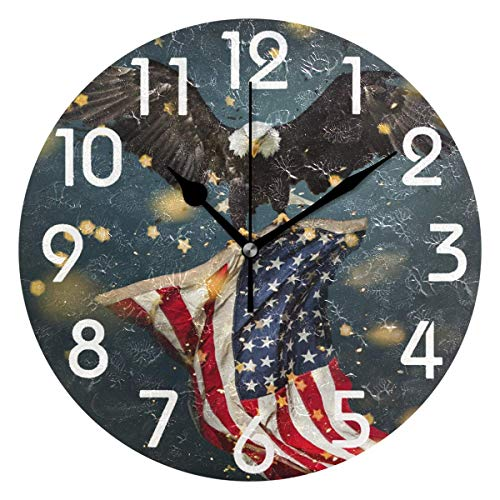 Dozili 3D Bald Eagle with American Flag Print Round Wall Clock Arabic Numerals Design Non Ticking Wall Clock Large for Bedrooms,Living Room,Bathroom (Flag Glass Clock)