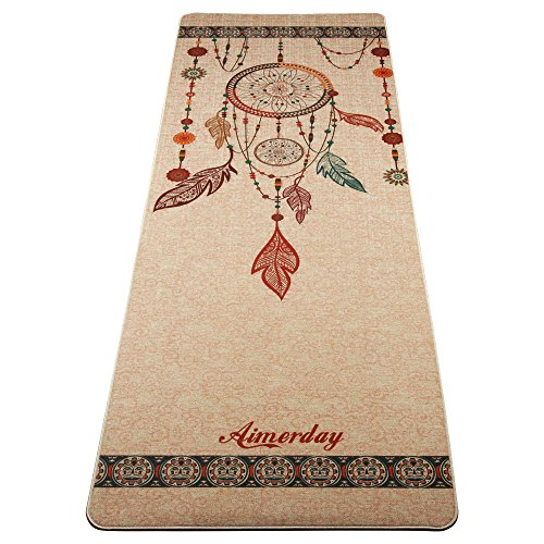 Aimerday All In One Yoga Mat Natural Rubber Extra Thick: Fit Spirit Premium Printed Yoga Mat