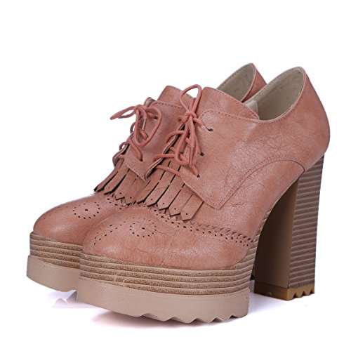 Minivog Chunky High Heel Brogue Mujeres Oxfords Botines Rosa