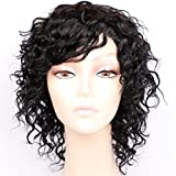 Goldfinch Short Curly Human Hair Wigs for Women 150% Density Short Curly Wig with Bangs Black Wigs 8 inches + Free Wig Cap