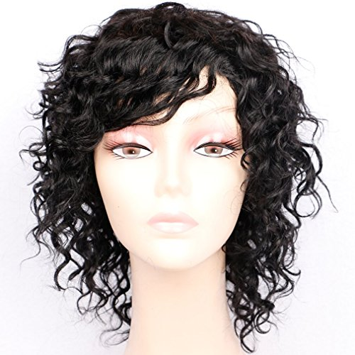 Goldfinch Short Curly Human Hair Wigs for Women 150% Density Short Curly Wig with Bangs Black Wigs 8 inches + Free Wig Cap by Goldfinch