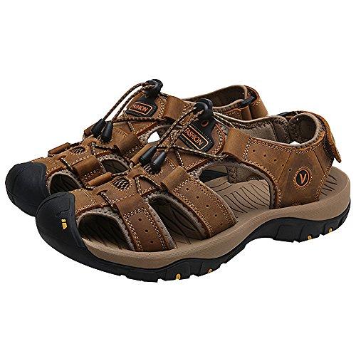 Hombre Excursionismo Gancho y Rismart Aire Punta y Libre Bucle Sandalias Al Chanclas Marrón Cuero Cerrado Zapatos dSttzq