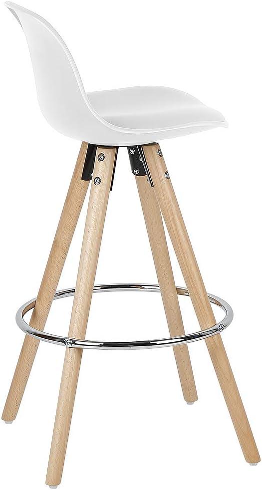 Blanc, 2 MUPAI Lot de 2 Tabouret de Bar Scandinave Chaise de Bar avec Anneau de Fer pour Bars//Comptoirs//Cuisine//Caf/é