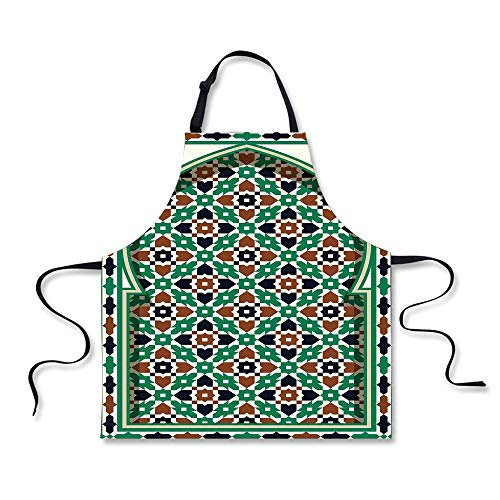 iPrint BBQ Apron,Moroccan,Middle Eastern Moroccan Arch with Medieval Floral Details Retro Mosque Decoration,Green Brown, Apron.29.5
