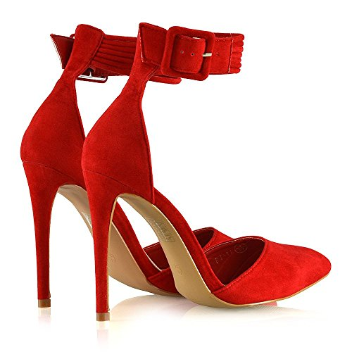 Essex Glam Womens Stiletto Hoge Hakken Spitse Teen Belted Enkelbandje Court Pumps Schoenen Rood Faux Suede