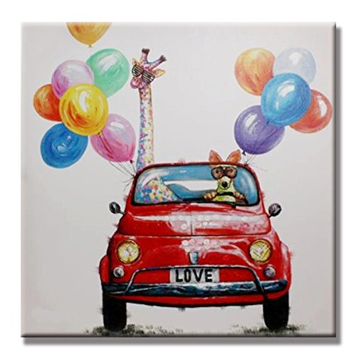 SEVEN WALL ARTS -Modern Animal Painting Cute Giraffe and Dog Driving a Red Car with Colorful Balloon Happy Trip Decorative Artworks for Kids Room Home Decor 24 x 24 in