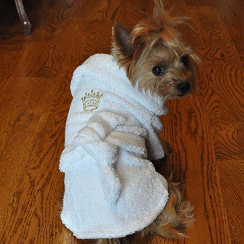 White Gold Crown Cotton Dog Bathrobe (X-Small)