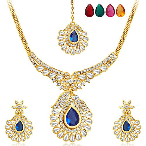 Sukkhi Resplendent Gold Plated AD Necklace Set with Set of 5 Changeable Stone for Women