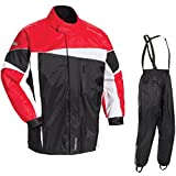 Tour Master Defender 2.0 Men's 2-Piece Street Bike Racing Motorcycle Rain Suit - Black/Red Medium