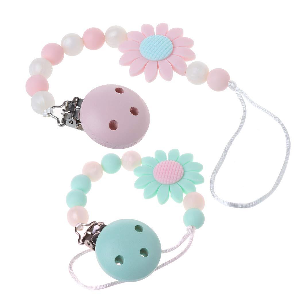 MIsha Cadena chupetes silicona Juguete para bebe Girasol lindo, Perlas de silicona de grado alimenticio(Rosa)