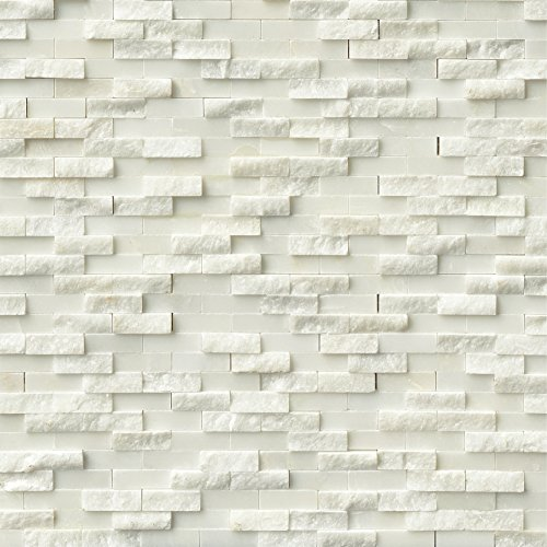 M S International Arabescato Carrara Split Face Interlocking 12 In. X 12 In. X 10mm Marble Mesh-Mounted Mosaic Tile, (10 sq. ft., 10 pieces per case)