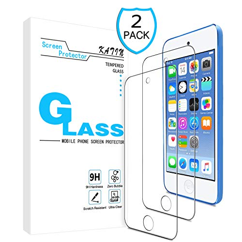 KATIN iPod Touch Screen Protector - [2-Pack] for Apple iPod Touch (7th Generation / 6th Gen / 5th Gen) Tempered Glass [No-Bubble] 9H Hardness with Lifetime Replacement Warranty (Ipod Touch Screen Cover)
