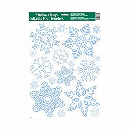 Santa and Snowflakes Window Clings Christmas Decorations Large Sheets 17 x 12 Unique Ind. Santa and Snowflakes Christmas Window Clings