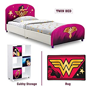 picture of Delta Children - Wonder Woman Twin Furniture Set, 3-Piece by DC Comics (Wonder Woman Upholstered Twin Bed | Storage Unit w/ 6 Cubbies and Bins | Wonder Woman Area Rug)