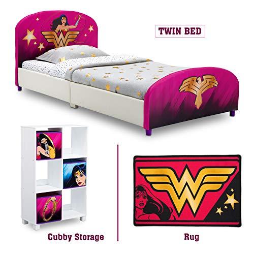 Delta Children - Wonder Woman Twin Furniture Set, 3-Piece by DC Comics (Wonder Woman Upholstered Twin Bed | Storage Unit w/ 6 Cubbies and Bins | Wonder Woman Area Rug),delta children