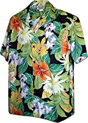 Maui Tropics Men's Aloha Shirts Black S 410-3799