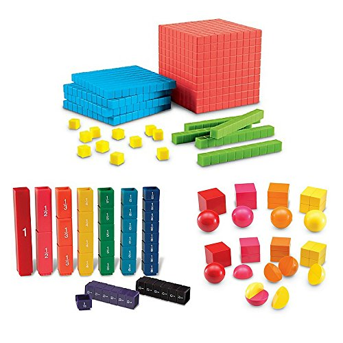 Learning Resources Brights Base Ten Starter Set, Learning Resource Fraction Tower Fraction Cubes, Learning Resources Magnetic 3-D Fraction Shapes, Math Learning Tools For Kids, Kids Math Toys