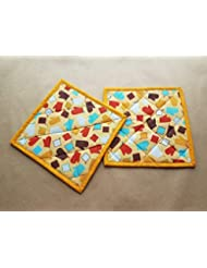 Vintage Inspired Potholders Set of 2, Orange, Aqua, Brown, Red Potholder and Oven Mitt, Insulated Trivets, Hot Pads, 50s Inspired Kitchen Decor, Mid Century Modern, MCM Gift Ideas, Retro Kitchen